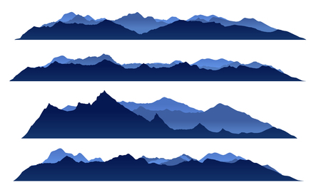 Illustration pour Blue sky mountain view set vector design - image libre de droit