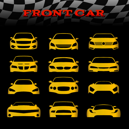 Yellow front body car and Checkered flags vector set design