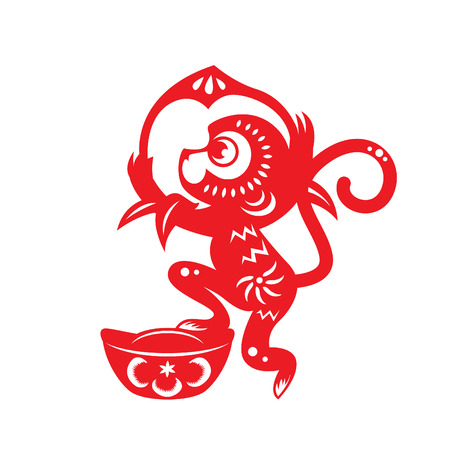 Red paper cut monkey zodiac symbol monkey holding peach and monkey