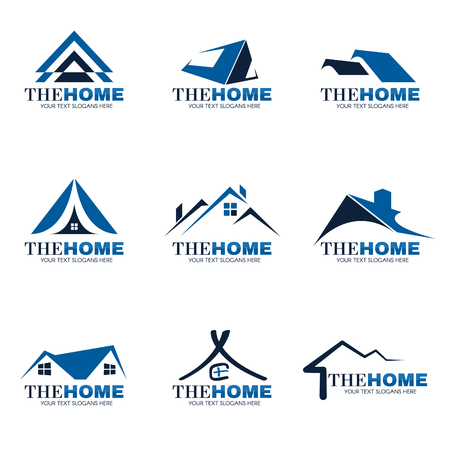 Photo pour Blue and gray Home logo set vector design - image libre de droit