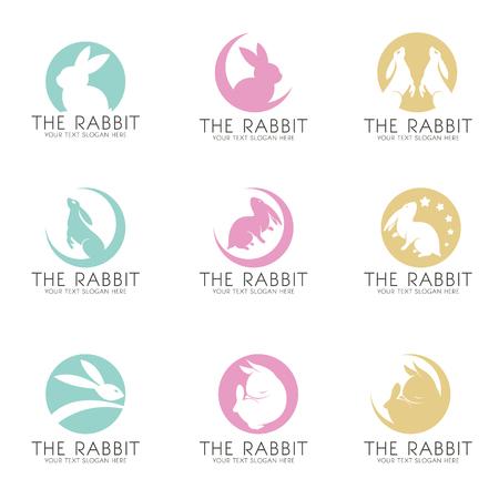 The Rabbit on the moon logo vector set design