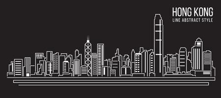 Photo for Cityscape Building Line art Vector Illustration design Hong kong city - Royalty Free Image