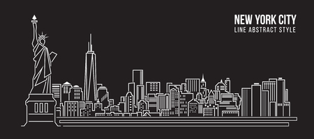 Illustration pour Cityscape Building Line art Vector Illustration design - new york city - image libre de droit