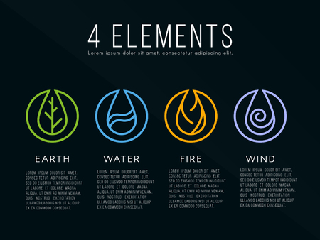 Illustration pour Nature 4 elements icon sign. Water, Fire, Earth, Air. on dark background. - image libre de droit