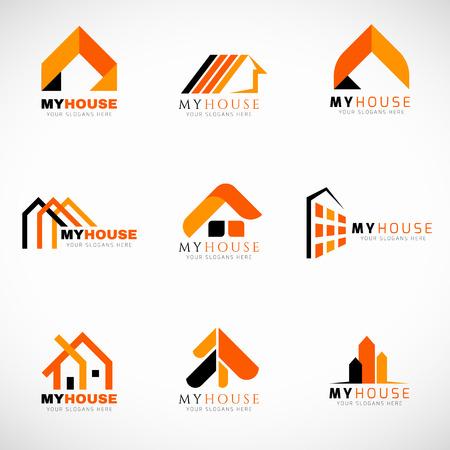 Illustration pour Orange and Black House logo set vector design - image libre de droit
