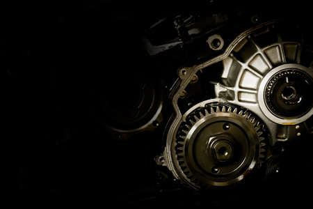 Photo pour Gear motor cars on black background - image libre de droit