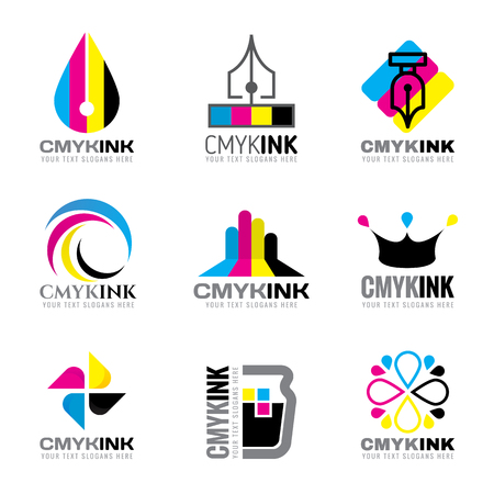 Illustration pour CMYK ink logo vector set design- cyan and magenta and yellow and keyblack color - image libre de droit
