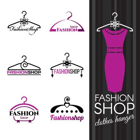 Ilustración de Fashion shop logo - Violet Clothes hanger vector set design - Imagen libre de derechos