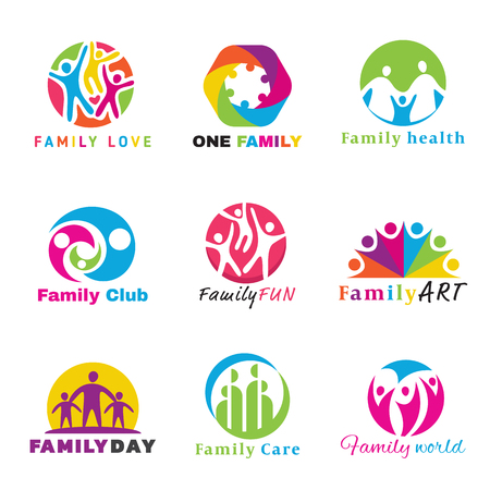 Photo pour Family logo circle art vector set design - image libre de droit