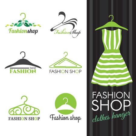 Ilustración de Fashion shop logo - Green Clothes hanger vector set design - Imagen libre de derechos