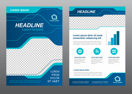 Illustration pour Layout flyer template size A4 cover page blue line art Vector design - image libre de droit
