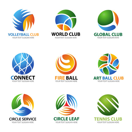 Circle ball logo for sport and business vector set art design