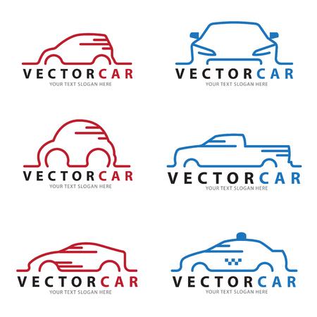 Ilustración de Red and blue Line car sign vector set design - Imagen libre de derechos