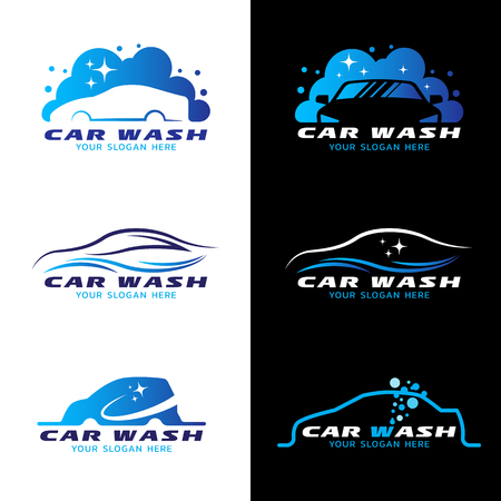 Ilustración de car wash service logo vector set design - Imagen libre de derechos