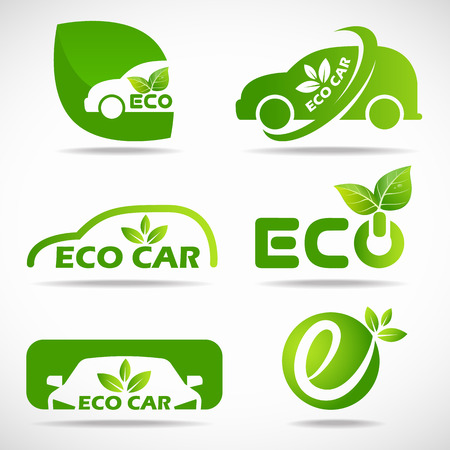 Ilustración de Eco car icon - green leaf and car sign set design - Imagen libre de derechos