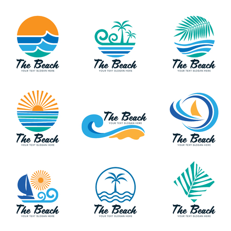 Illustration for The beach logo with sea wave , coconut leaf , boat and sun vector set design - Royalty Free Image