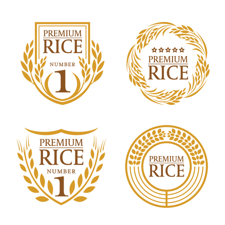 Photo for Orange brown paddy rice organic natural product banner logo vector design - Royalty Free Image