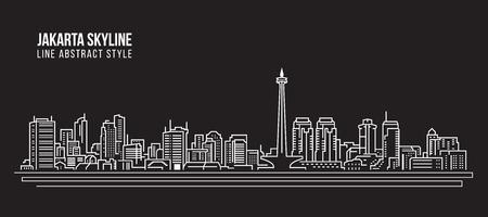 Illustration pour Cityscape Building Line art Vector Illustration design - Jakarta city skyline - image libre de droit