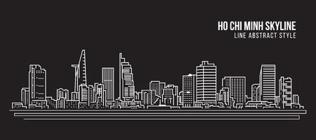 Ilustración de Cityscape Building Line art Vector Illustration design - Ho Chi Minh city - Imagen libre de derechos