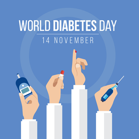 Illustration for World Diabetes Day Awareness with hands hold the meter measures for blood sugar level hand hold drug and Drops of blood on circle blue background vector design - Royalty Free Image