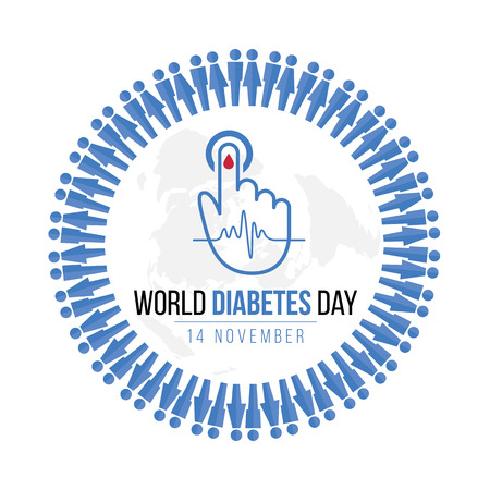Ilustración de World Diabetes Day Awareness with blue Human icon circle and  Blood drop on hand for blood sugar level and  Wave pulse sign on map world vector design - Imagen libre de derechos