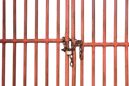 Foto de Orange Cage door with chain and lock isolate on white background - Imagen libre de derechos