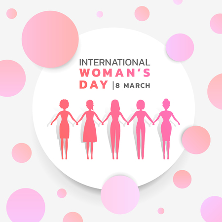 Illustration pour International Women's day with background pink purple woman's group holding hands together in white circle and abstract pink purple circle texture. Vector banner design. - image libre de droit