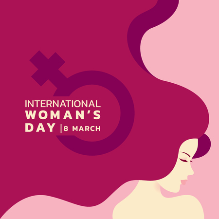 Illustration pour International women's day with lady and long hair and woman sign banner vector design - image libre de droit