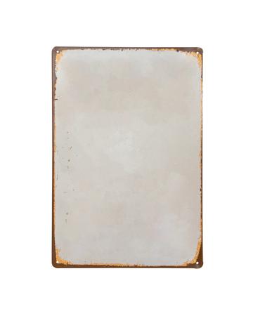 Photo pour vintage old white Sheet metal banner isolate on white background - image libre de droit