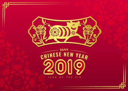 Ilustración de Happy Chinese New Year 2019 card with gold pig zodiac and flower in frame sign on red flower texture background vector design. - Imagen libre de derechos
