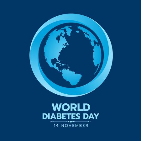 Ilustración de World Diabetes Day banner with earth world map sign in blue circle sign on dark blue background vector design - Imagen libre de derechos