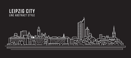 Illustration pour Cityscape Building Line art Vector Illustration design - Leipzig city - image libre de droit