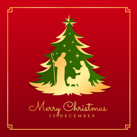 Illustration for Merry Christmas banner card with Nightly christmas scenery mary and joseph in a manger with baby Jesus in green gold christmas tree on red background vector design - Royalty Free Image