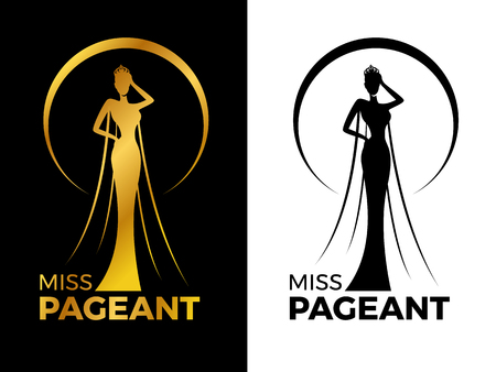 Illustration pour Miss lady pageant logo sign with Gold and black woman wear Crown in circle ring vector design - image libre de droit