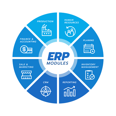 Ilustración de Enterprise resource planning (ERP) module icon Construction on blue circle flow chart  art vector design - Imagen libre de derechos