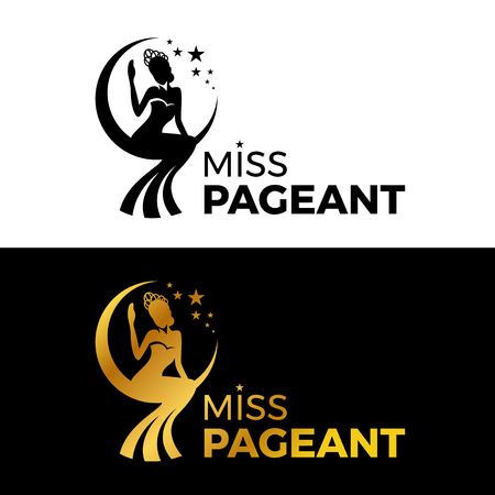 Illustration pour Miss lady pageant sign with Gold and black woman wear Crown sit on the moonn and star vector design - image libre de droit