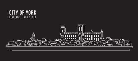Illustration pour Cityscape Building Line art Vector Illustration design - city of York - image libre de droit