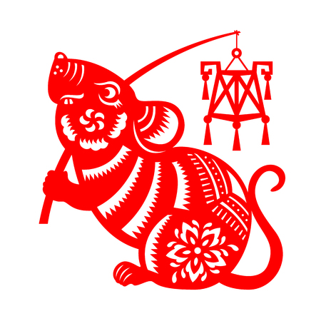 Illustration pour Red paper cut rat zodiac hold lantern sign isolate on white background vector design - image libre de droit