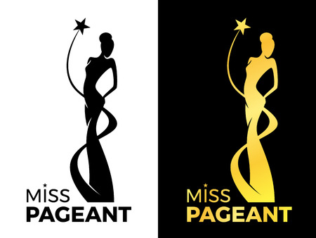 Illustration pour Miss lady pageant sign with queen wears evening gown and star around lady queen vector design - image libre de droit