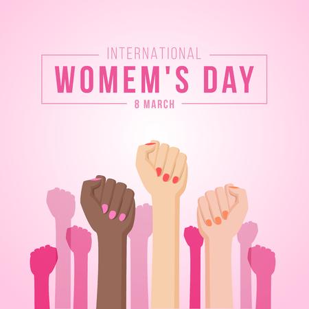 Illustration pour International women day with woman Fist hands - image libre de droit