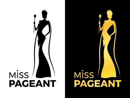 Illustration pour Miss pageant logo sign with woman queen wear crown and Beauty cape hold Wand vector design - image libre de droit