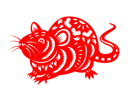 Illustration pour Red paper cut chinese rat zodiac isolate on white background vector design - image libre de droit