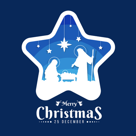 Ilustración de Merry Christmas banner sign with Nightly christmas scenery mary and joseph in a manger with baby Jesuson in star frame on blue - Imagen libre de derechos