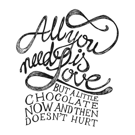 Illustration for All You need is Love - Hand drawn quotes, black on white - Royalty Free Image