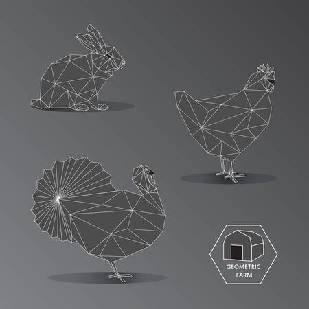Illustration of geometric farm animals made of triangle polygons outline