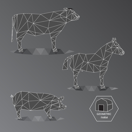 Grey scale illustration of geometric farm animals made of triangle polygons, wire outline, set of big livestock like bull, horse, and hog