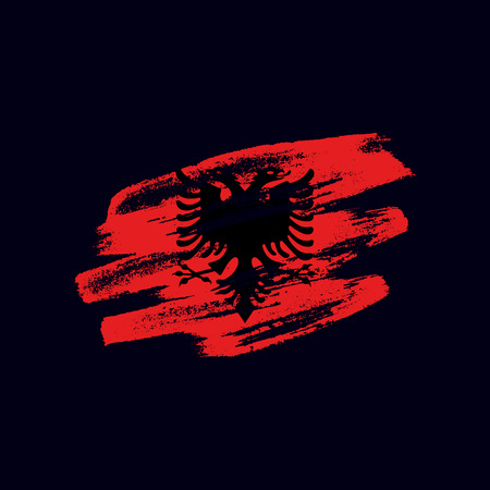Ilustración de Grunge textured Albanian flag. Vector brush painted flag of Republic of Albania isolated on dark blue background. Frayed and scratched the national symbol of the European country - Imagen libre de derechos