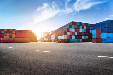 Photo for Industrial port and container yard - Royalty Free Image