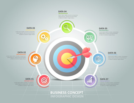 Ilustración de Circle infographic 7 options,  Business concept infographic template can be used for workflow layout, diagram, number options, timeline or milestones project. - Imagen libre de derechos