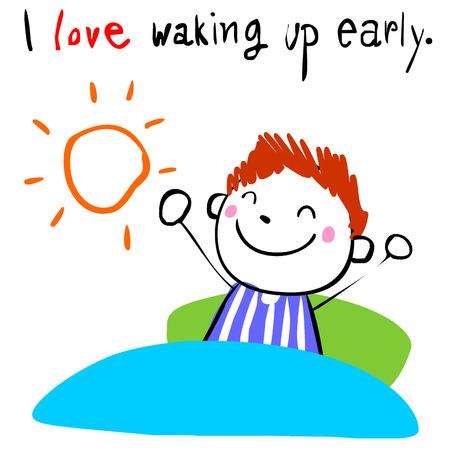 Illustration pour lively boy love waking up early doodle vector style - image libre de droit